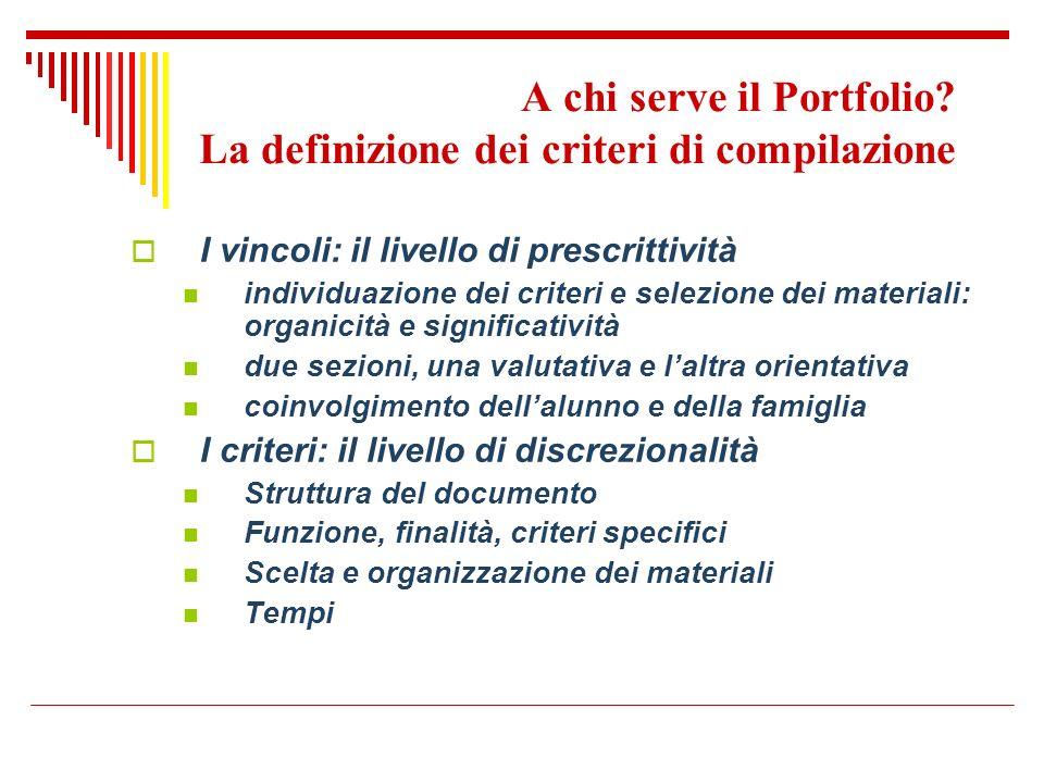 A chi serve il Portfolio La definizione dei criteri di compilazione