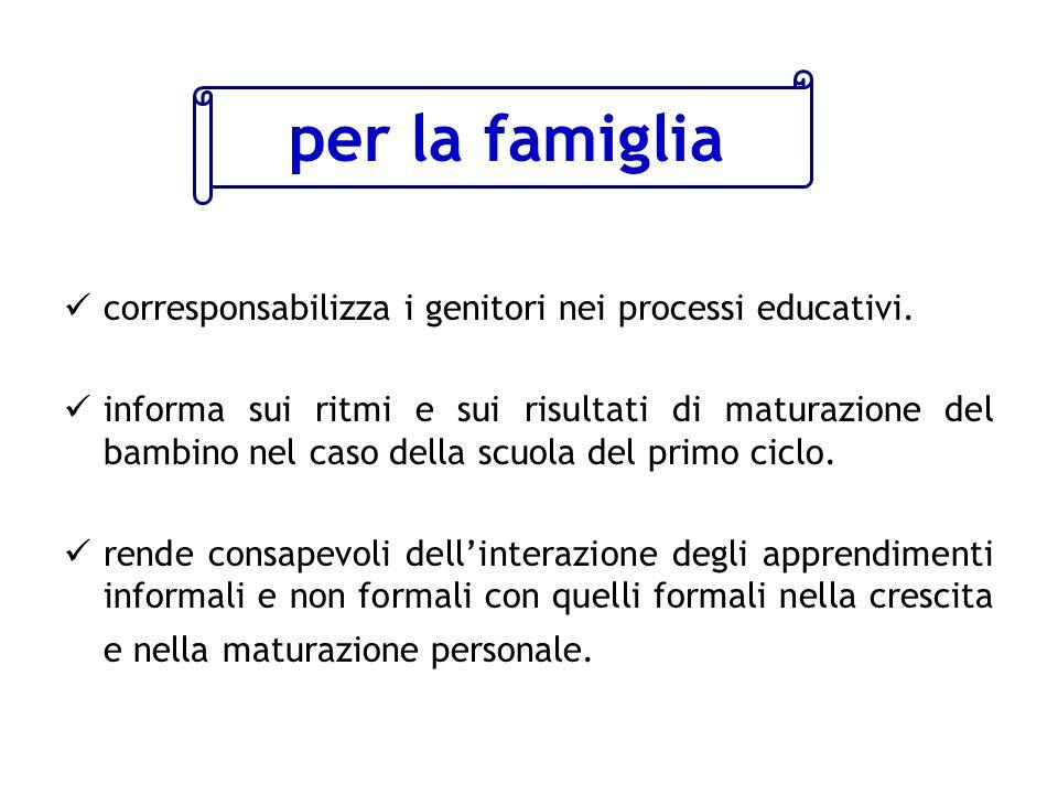 per la famiglia corresponsabilizza i genitori nei processi educativi.