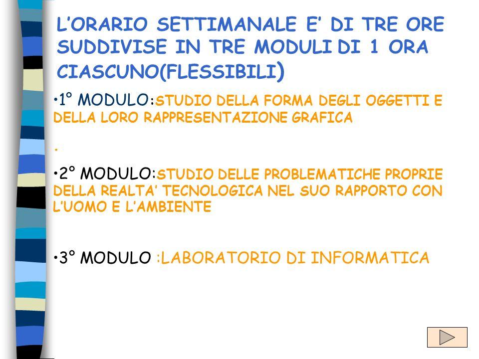 L'ORARIO SETTIMANALE E' DI TRE ORE SUDDIVISE IN TRE MODULI DI 1 ORA CIASCUNO(FLESSIBILI)