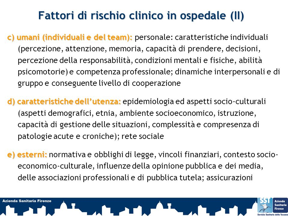 Fattori di rischio clinico in ospedale (II)