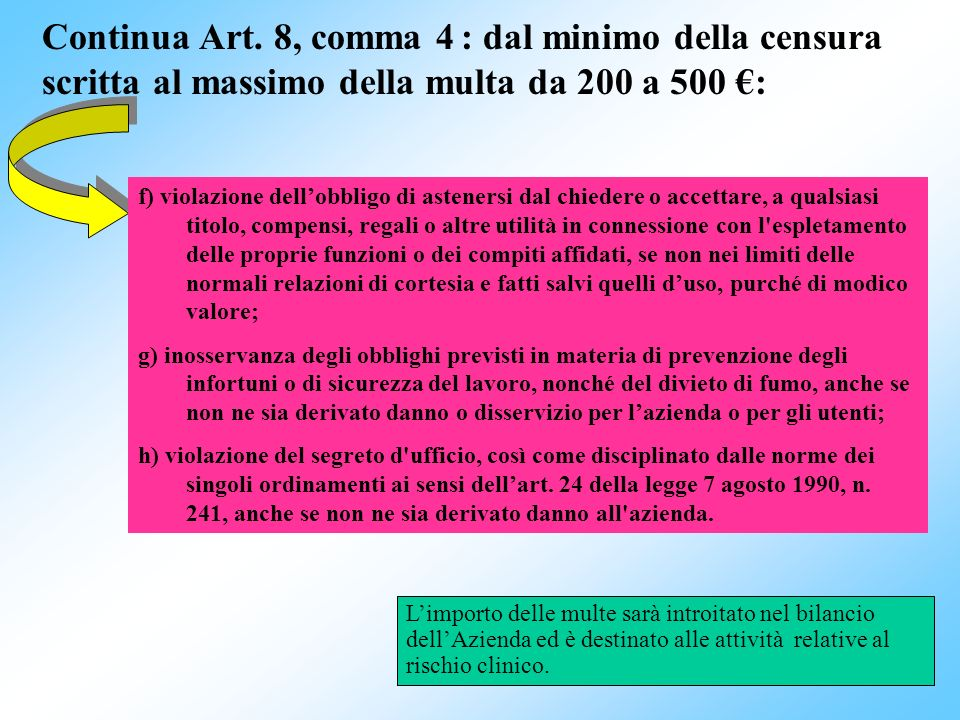 Continua Art. 8, comma 4 : dal minimo della censura scritta al massimo della multa da 200 a 500 €:
