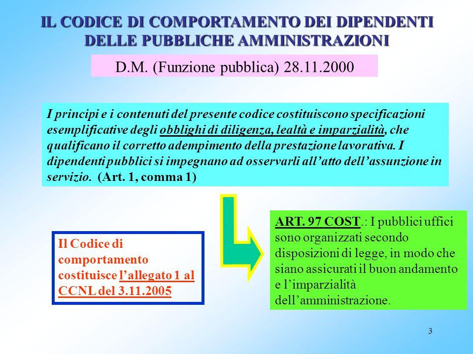 D.M. (Funzione pubblica) 28.11.2000