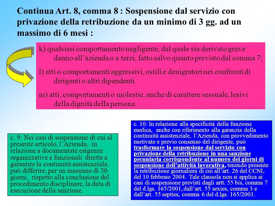 Continua Art. 8, comma 8 : Sospensione dal servizio con privazione della retribuzione da un minimo di 3 gg. ad un massimo di 6 mesi :