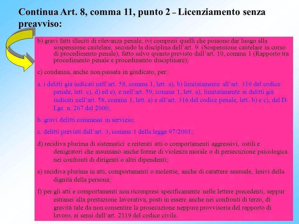 Continua Art. 8, comma 11, punto 2 – Licenziamento senza preavviso: