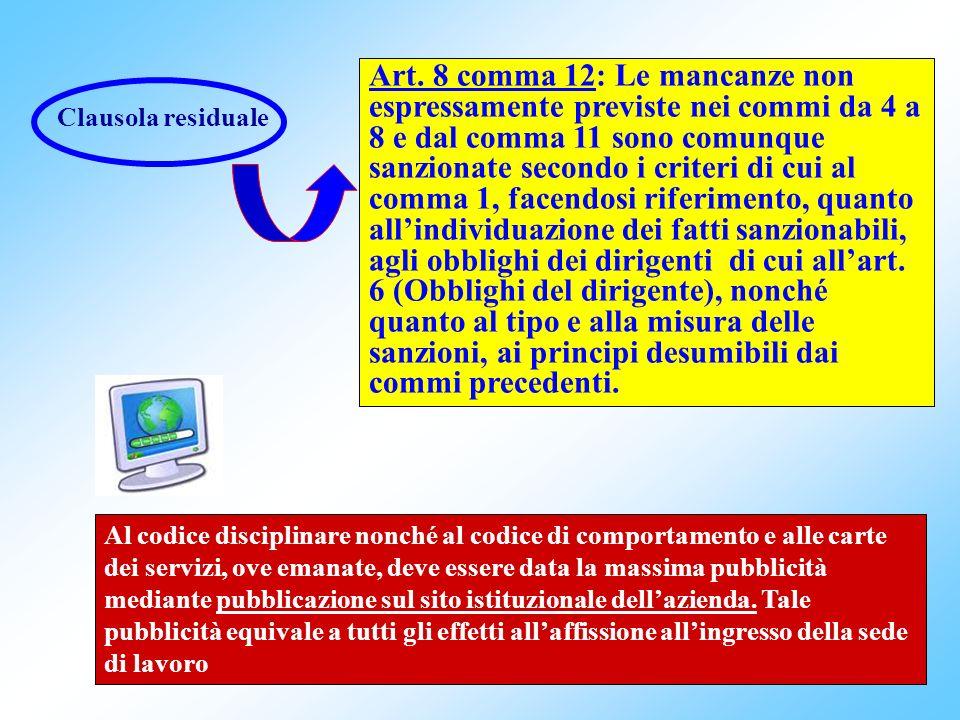 Art. 8 comma 12: Le mancanze non espressamente previste nei commi da 4 a 8 e dal comma 11 sono comunque sanzionate secondo i criteri di cui al comma 1, facendosi riferimento, quanto all'individuazione dei fatti sanzionabili, agli obblighi dei dirigenti di cui all'art. 6 (Obblighi del dirigente), nonché quanto al tipo e alla misura delle sanzioni, ai principi desumibili dai commi precedenti.