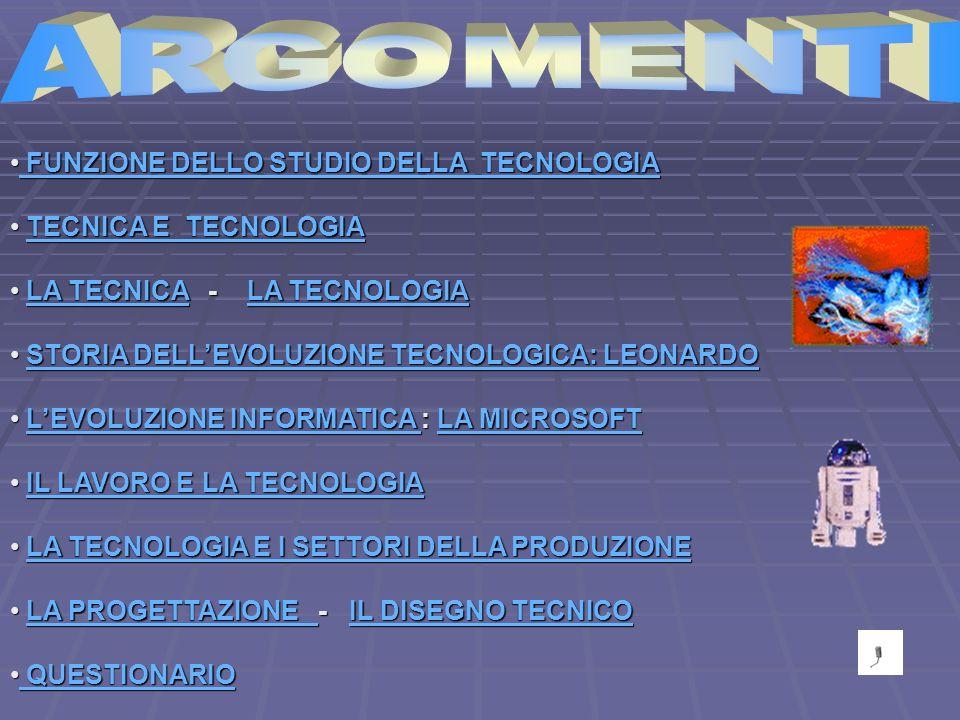 ARGOMENTI FUNZIONE DELLO STUDIO DELLA TECNOLOGIA TECNICA E TECNOLOGIA