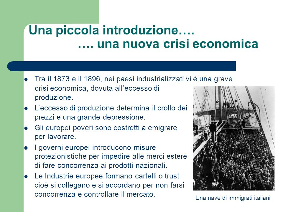 Una piccola introduzione…. …. una nuova crisi economica