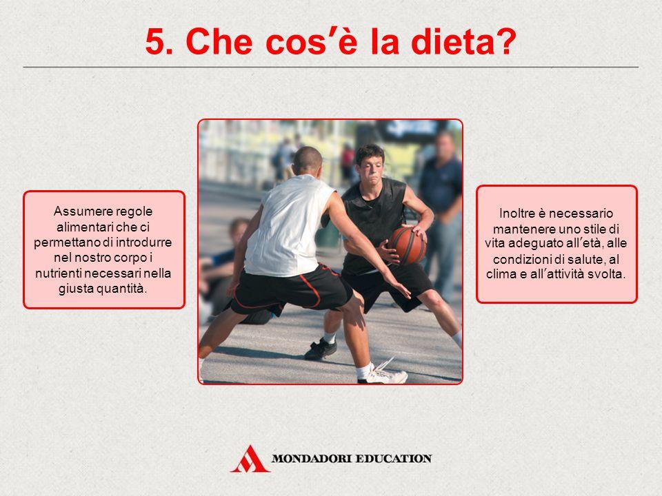 5. Che cos'è la dieta Inoltre è necessario mantenere uno stile di vita adeguato all'età, alle condizioni di salute, al clima e all'attività svolta.