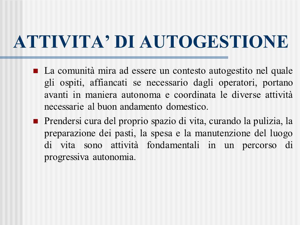 ATTIVITA' DI AUTOGESTIONE