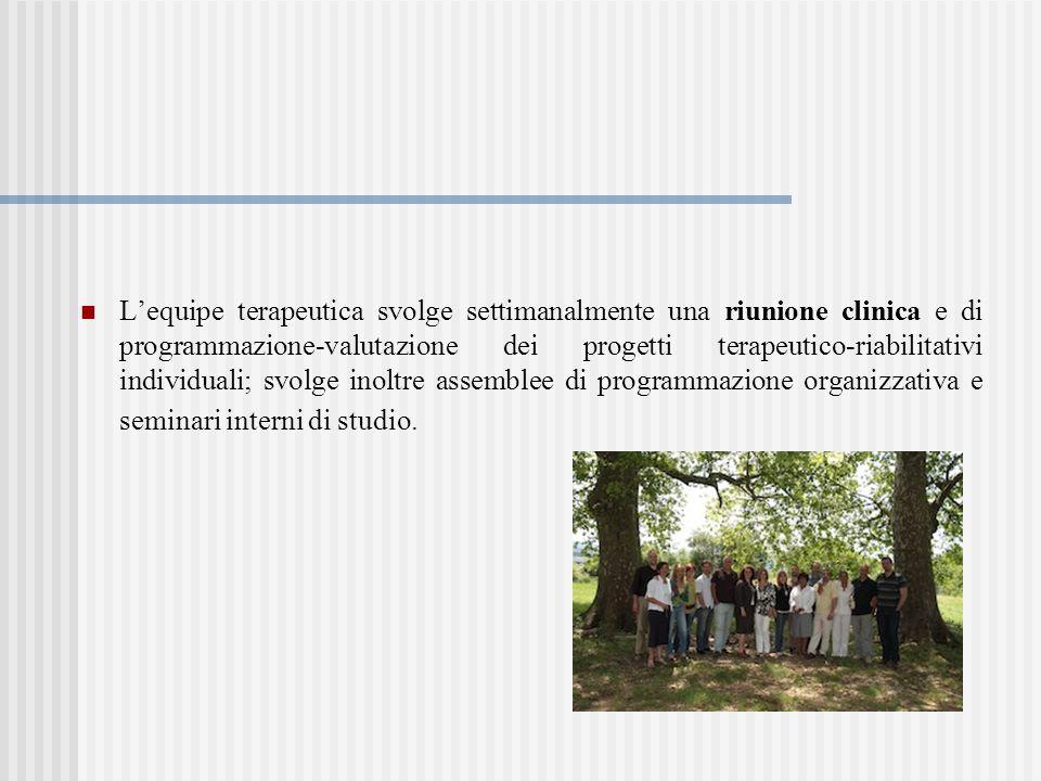 L'equipe terapeutica svolge settimanalmente una riunione clinica e di programmazione-valutazione dei progetti terapeutico-riabilitativi individuali; svolge inoltre assemblee di programmazione organizzativa e seminari interni di studio.