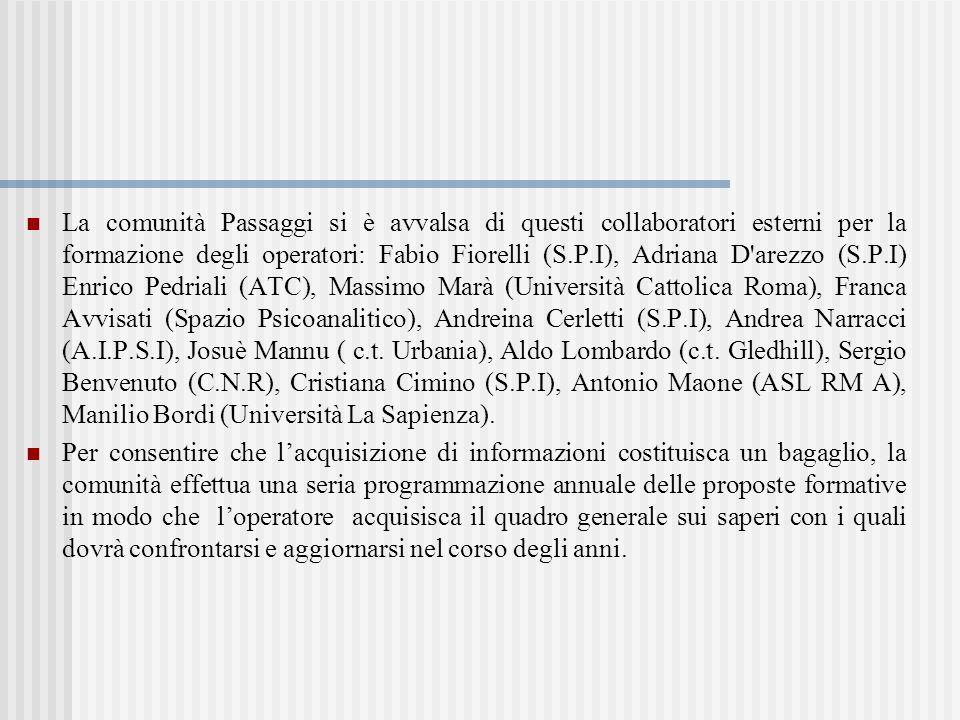La comunità Passaggi si è avvalsa di questi collaboratori esterni per la formazione degli operatori: Fabio Fiorelli (S.P.I), Adriana D arezzo (S.P.I) Enrico Pedriali (ATC), Massimo Marà (Università Cattolica Roma), Franca Avvisati (Spazio Psicoanalitico), Andreina Cerletti (S.P.I), Andrea Narracci (A.I.P.S.I), Josuè Mannu ( c.t. Urbania), Aldo Lombardo (c.t. Gledhill), Sergio Benvenuto (C.N.R), Cristiana Cimino (S.P.I), Antonio Maone (ASL RM A), Manilio Bordi (Università La Sapienza).