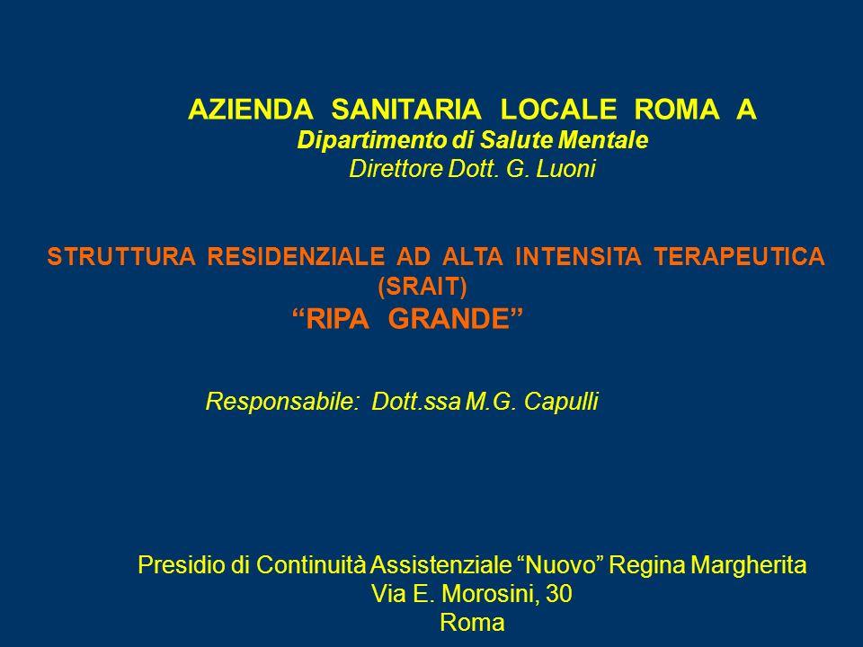 AZIENDA SANITARIA LOCALE ROMA A Dipartimento di Salute Mentale