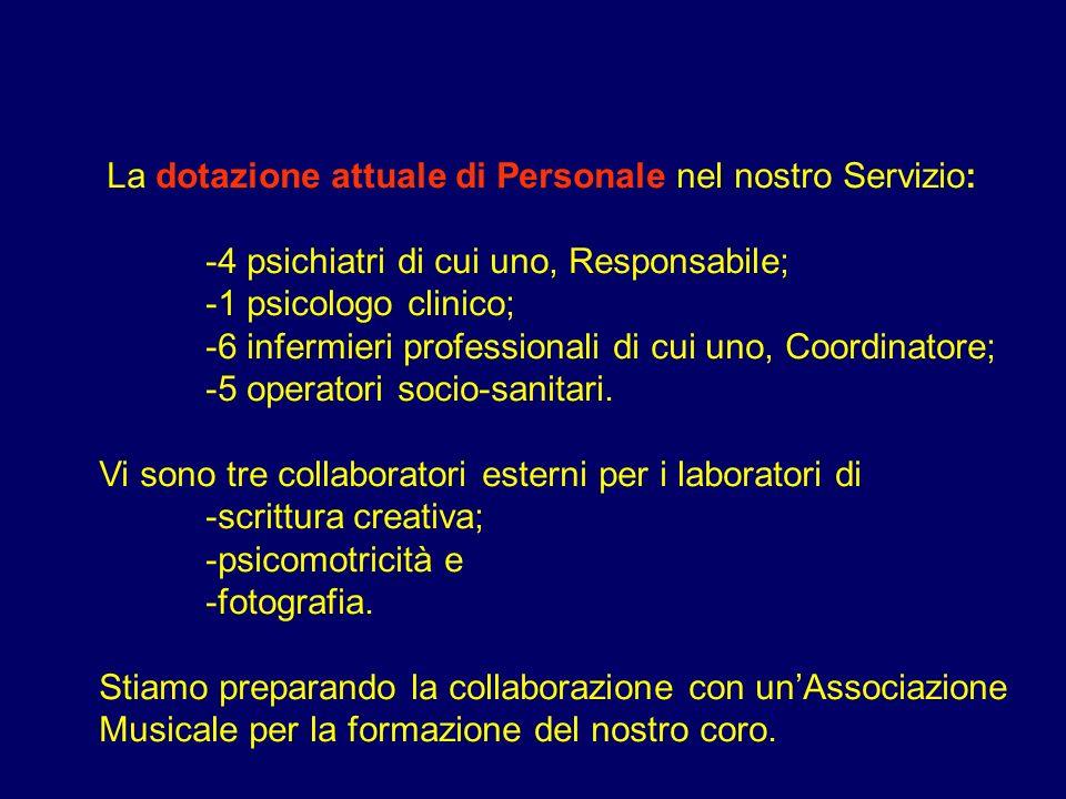 -4 psichiatri di cui uno, Responsabile; -1 psicologo clinico;