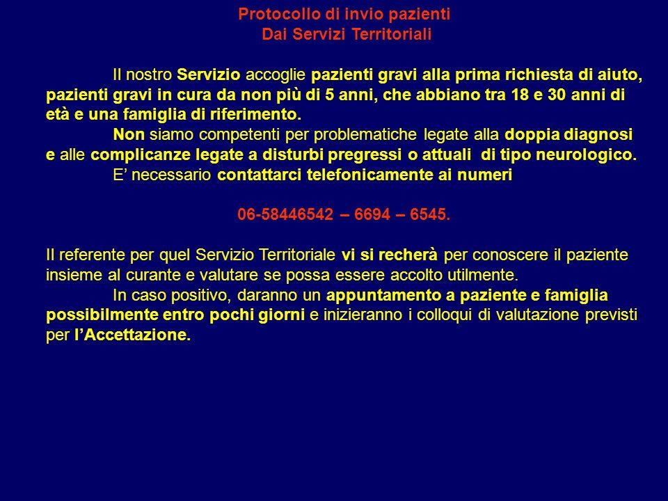 Protocollo di invio pazienti Dai Servizi Territoriali
