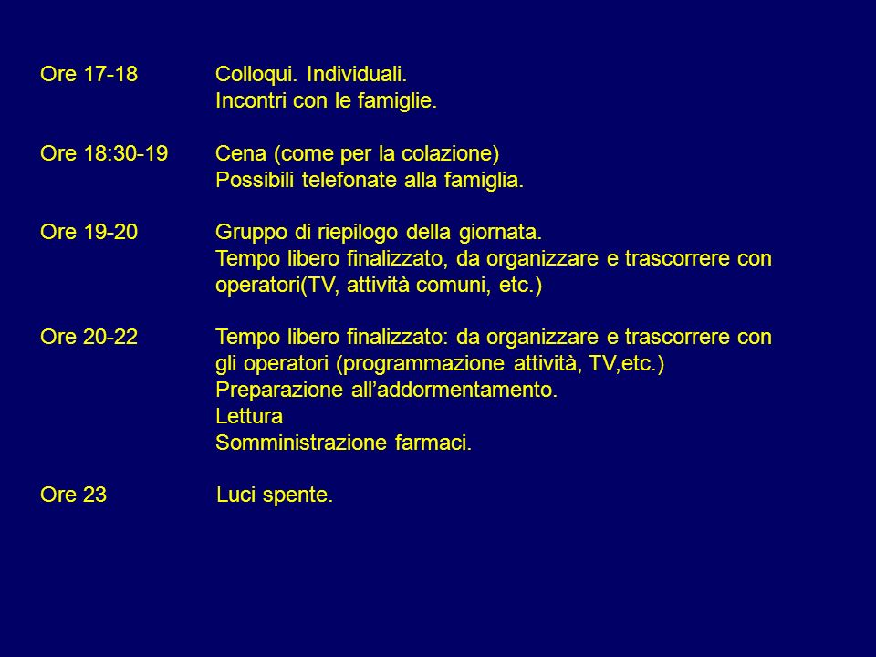 Ore 17-18 Colloqui. Individuali.