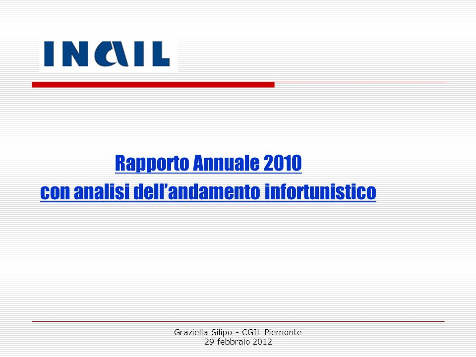con analisi dell'andamento infortunistico