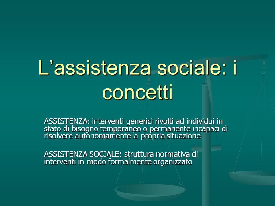 L'assistenza sociale: i concetti