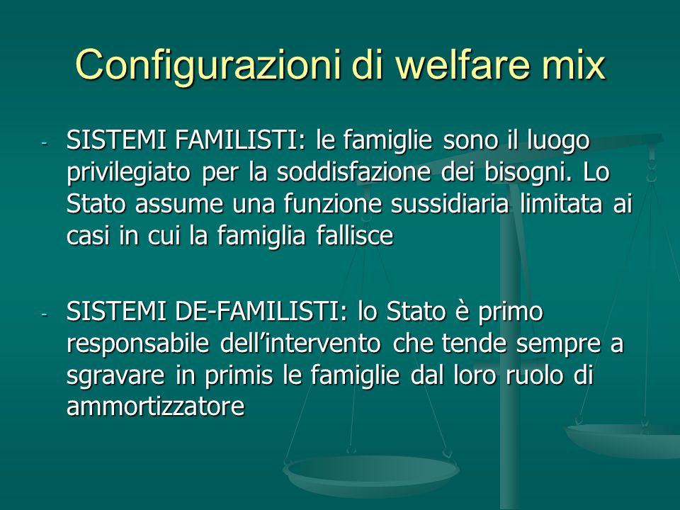 Configurazioni di welfare mix