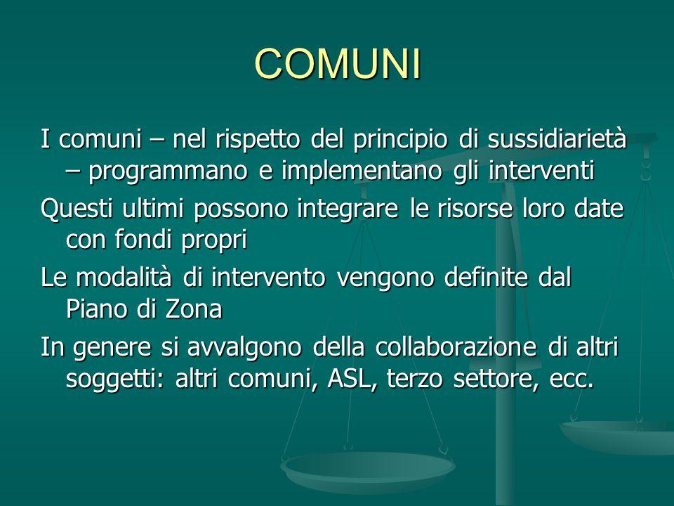 COMUNI I comuni – nel rispetto del principio di sussidiarietà – programmano e implementano gli interventi.