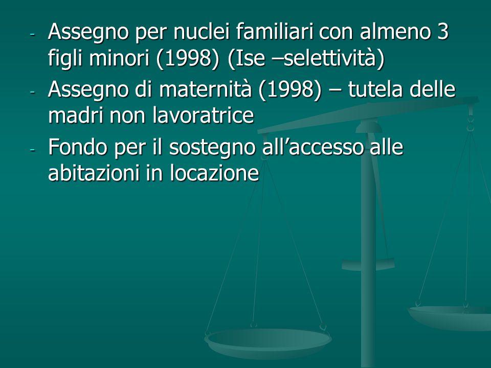 Assegno per nuclei familiari con almeno 3 figli minori (1998) (Ise –selettività)
