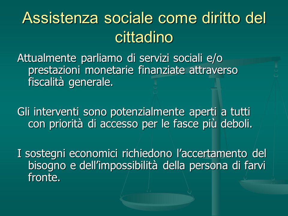 Assistenza sociale come diritto del cittadino