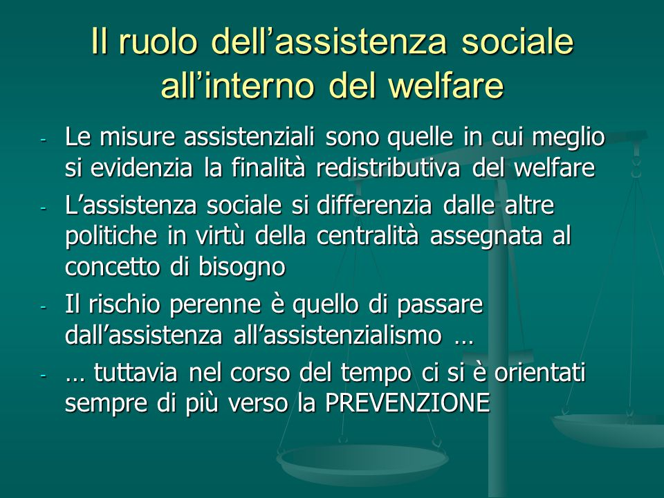 Il ruolo dell'assistenza sociale all'interno del welfare