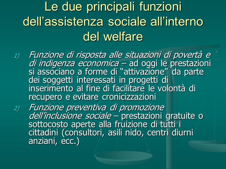 Le due principali funzioni dell'assistenza sociale all'interno del welfare