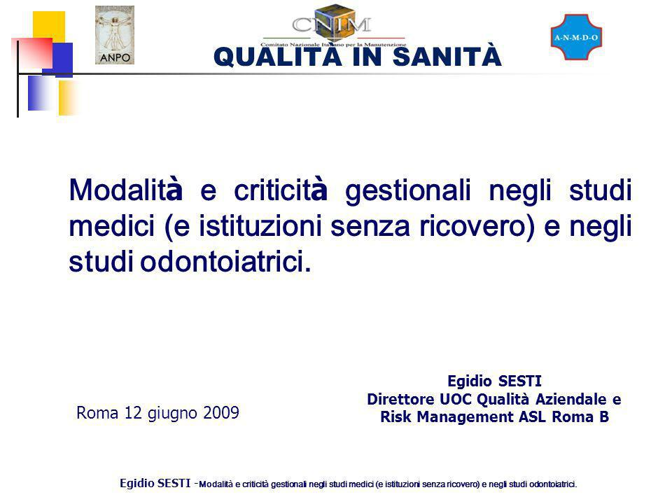 Direttore UOC Qualità Aziendale e Risk Management ASL Roma B
