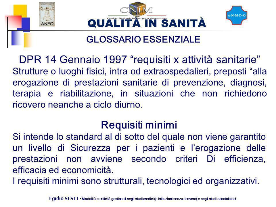 DPR 14 Gennaio 1997 requisiti x attività sanitarie