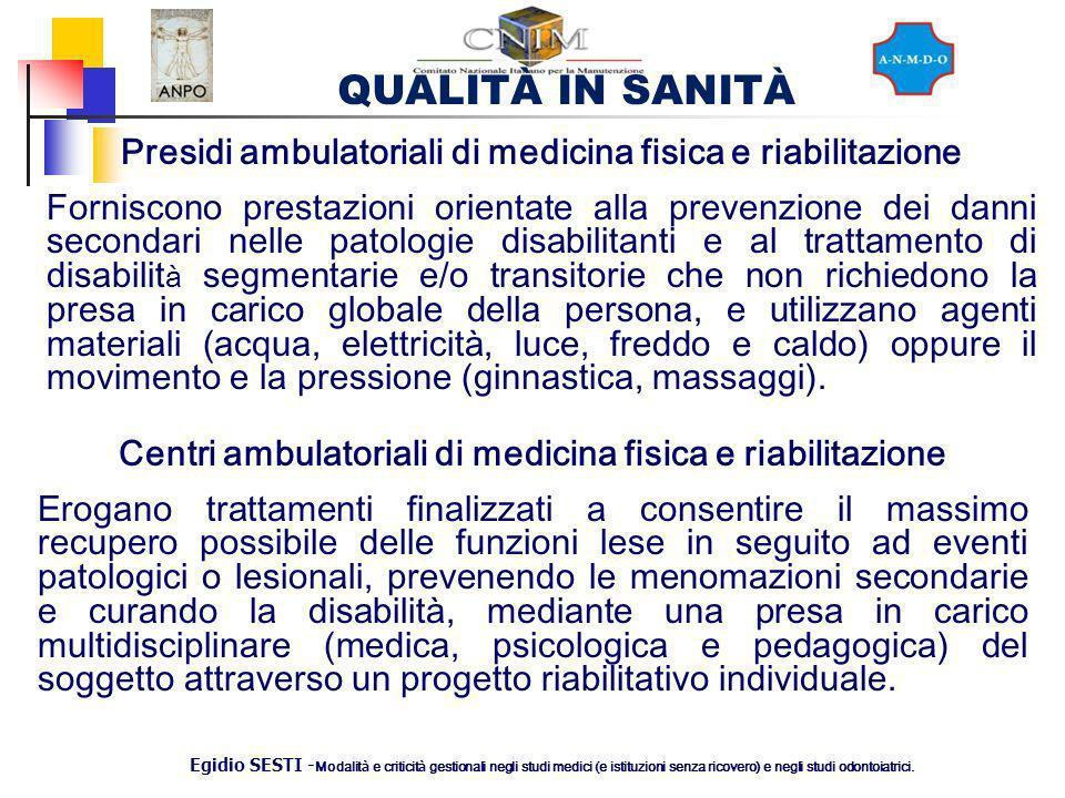 Presidi ambulatoriali di medicina fisica e riabilitazione