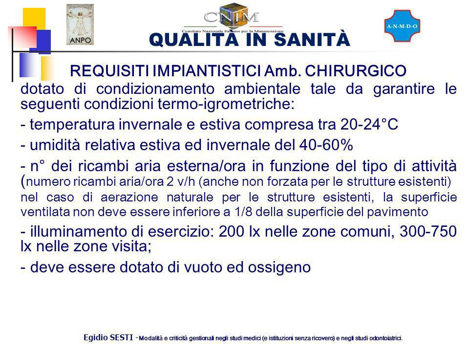 REQUISITI IMPIANTISTICI Amb. CHIRURGICO