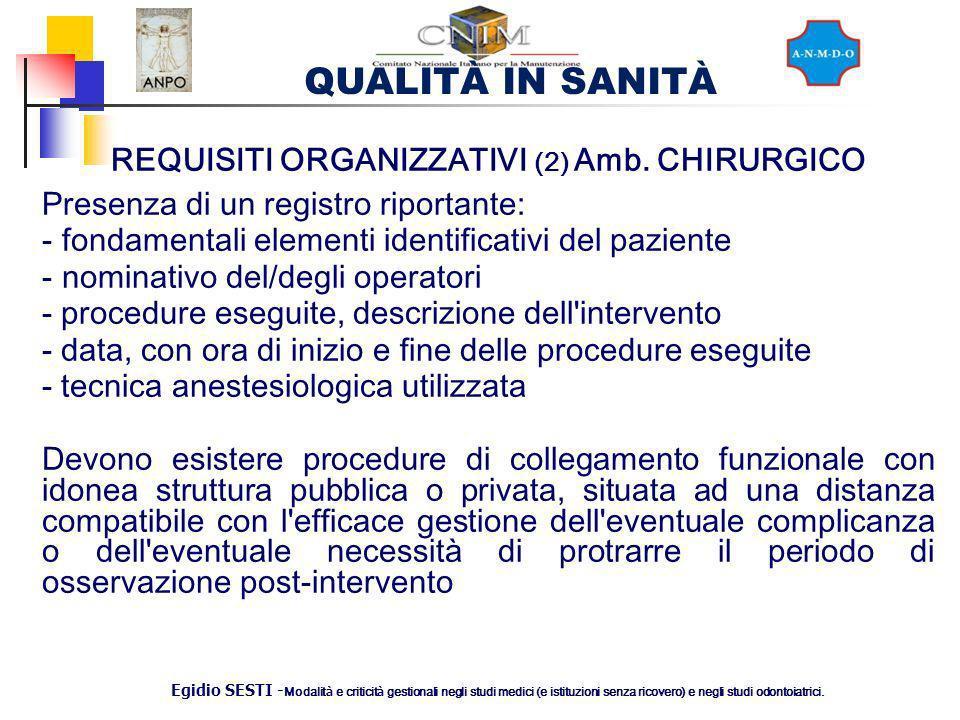 REQUISITI ORGANIZZATIVI (2) Amb. CHIRURGICO