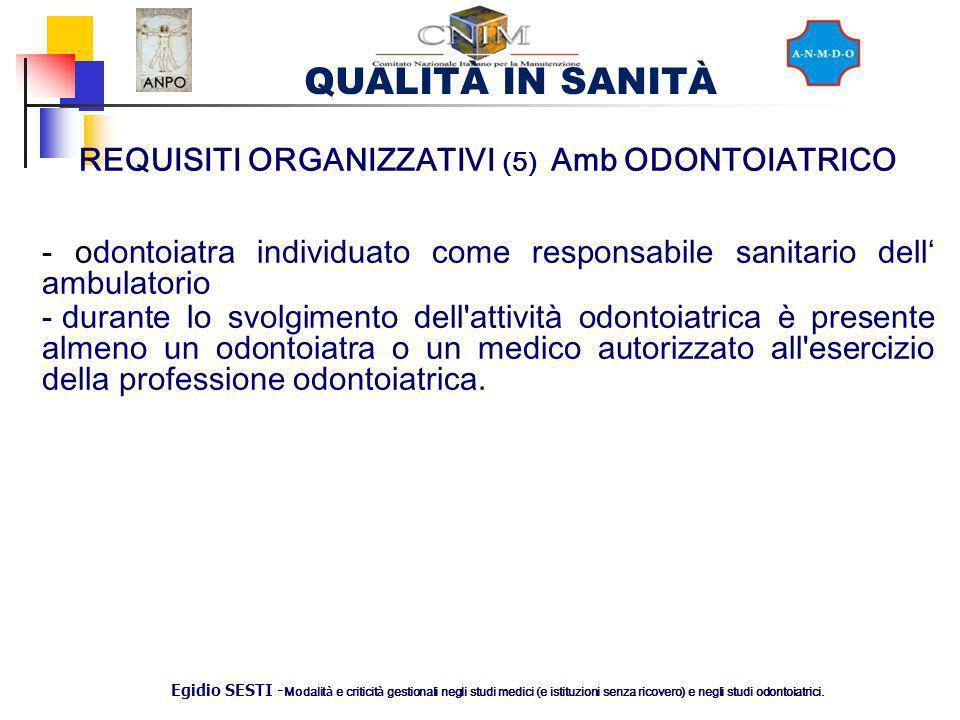 REQUISITI ORGANIZZATIVI (5) Amb ODONTOIATRICO