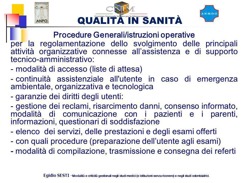 Procedure Generali/istruzioni operative