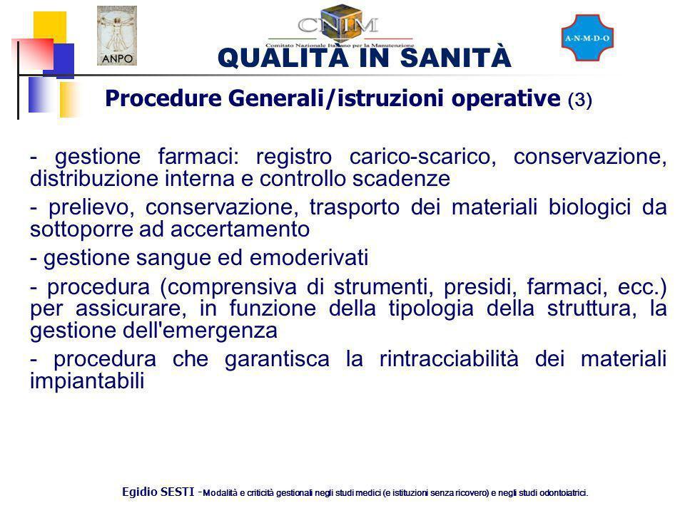 Procedure Generali/istruzioni operative (3)