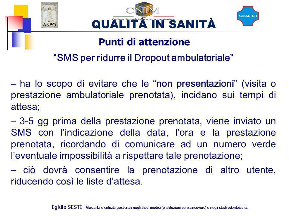 SMS per ridurre il Dropout ambulatoriale