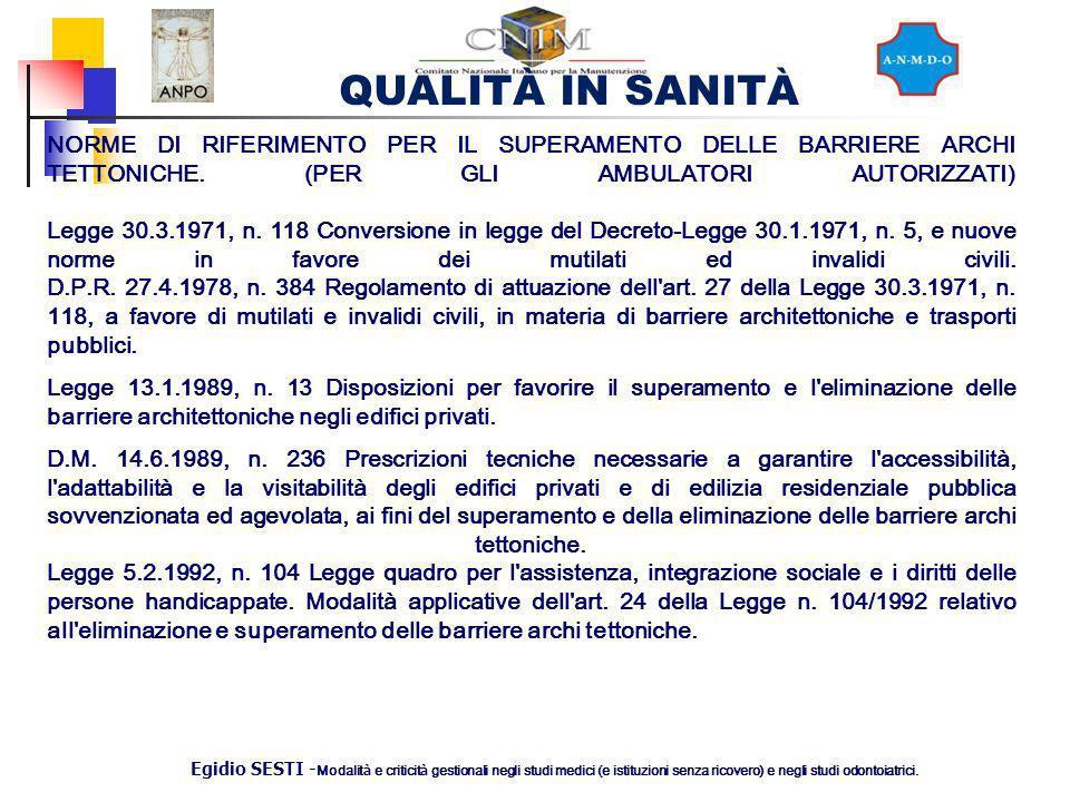 NORME DI RIFERIMENTO PER IL SUPERAMENTO DELLE BARRIERE ARCHI TETTONICHE. (PER GLI AMBULATORI AUTORIZZATI) Legge 30.3.1971, n. 118 Conversione in legge del Decreto-Legge 30.1.1971, n. 5, e nuove norme in favore dei mutilati ed invalidi civili. D.P.R. 27.4.1978, n. 384 Regolamento di attuazione dell art. 27 della Legge 30.3.1971, n. 118, a favore di mutilati e invalidi civili, in materia di barriere architettoniche e trasporti pubblici.