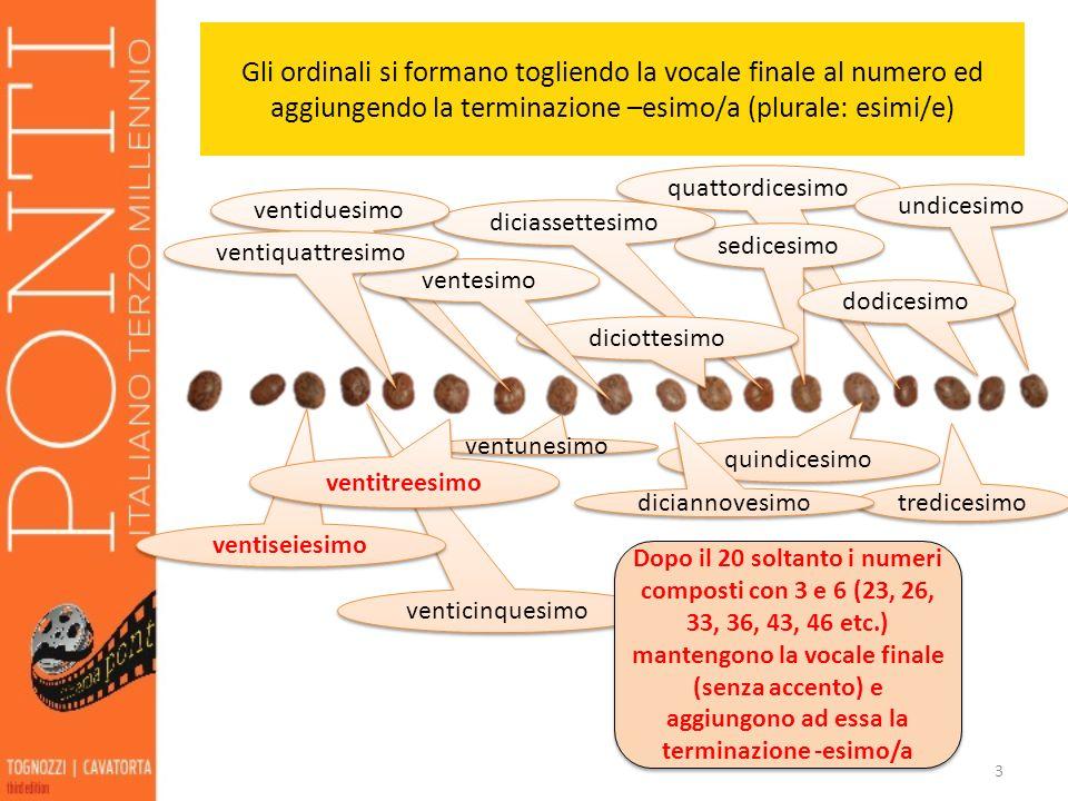 Gli ordinali si formano togliendo la vocale finale al numero ed aggiungendo la terminazione –esimo/a (plurale: esimi/e)