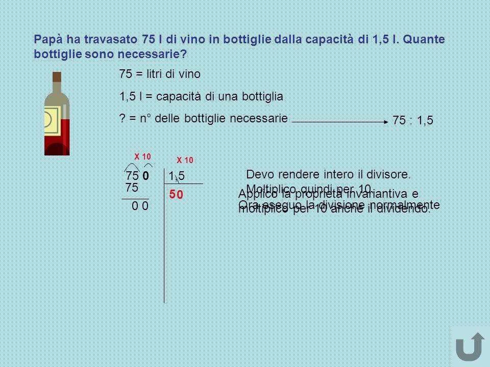 1,5 l = capacità di una bottiglia = n° delle bottiglie necessarie