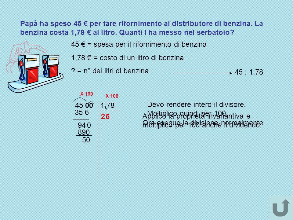 45 € = spesa per il rifornimento di benzina
