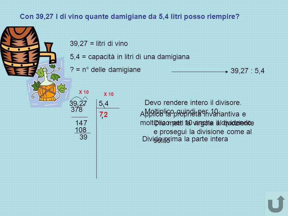 Con 39,27 l di vino quante damigiane da 5,4 litri posso riempire