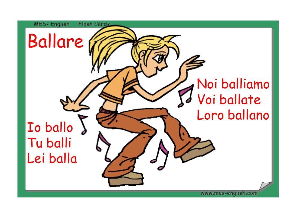 Ballare Noi balliamo Voi ballate Loro ballano Io ballo Tu balli