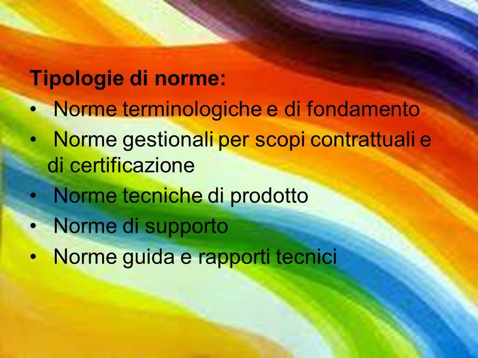 Tipologie di norme: Norme terminologiche e di fondamento. Norme gestionali per scopi contrattuali e di certificazione.