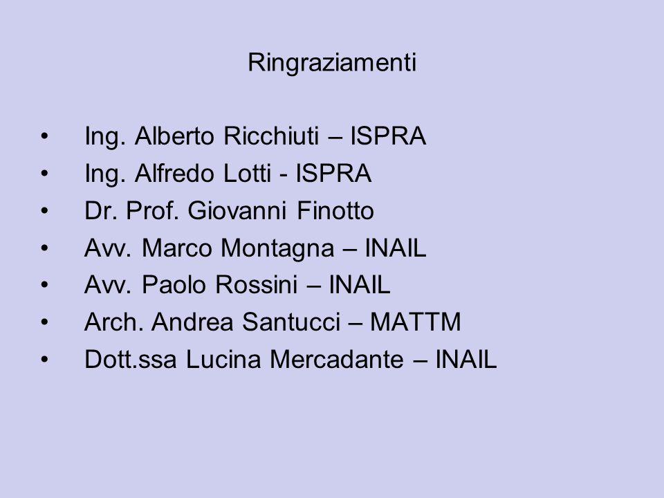 RingraziamentiIng. Alberto Ricchiuti – ISPRA. Ing. Alfredo Lotti - ISPRA. Dr. Prof. Giovanni Finotto.