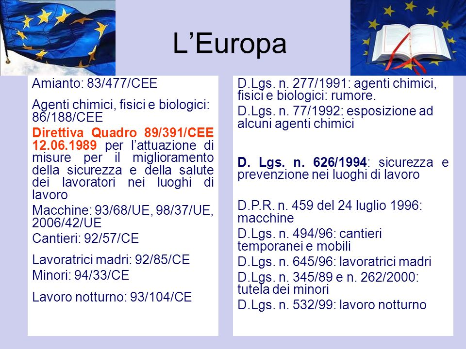 L'Europa Amianto: 83/477/CEE