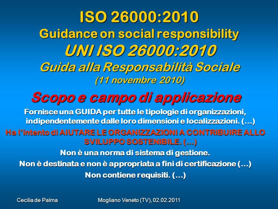 ISO 26000:2010 Guidance on social responsibility UNI ISO 26000:2010 Guida alla Responsabilità Sociale (11 novembre 2010)
