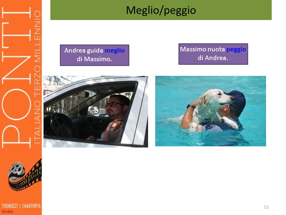 Meglio/peggio Massimo nuota peggio di Andrea.