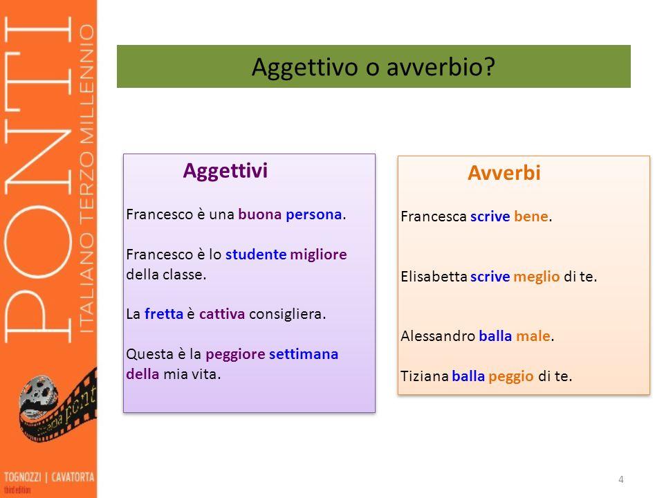 Aggettivo o avverbio Aggettivi Avverbi Francesco è una buona persona.