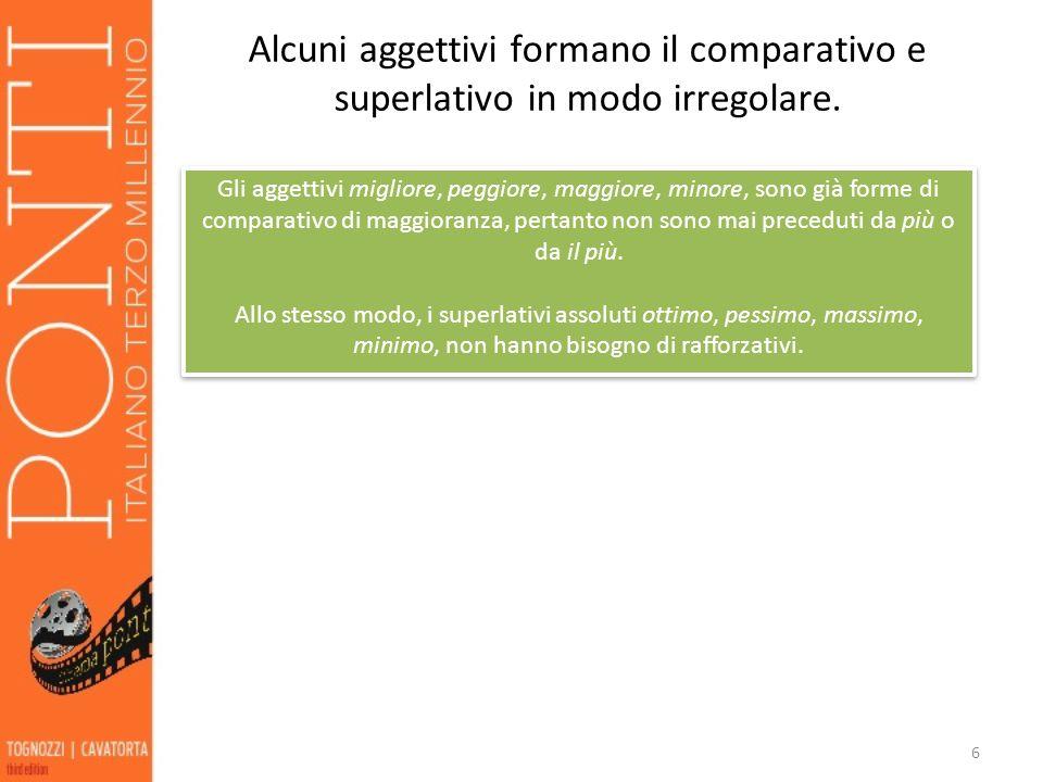 Alcuni aggettivi formano il comparativo e superlativo in modo irregolare.