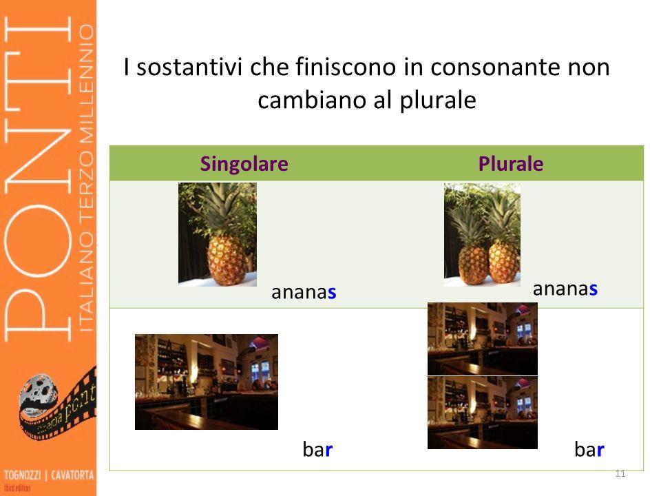 I sostantivi che finiscono in consonante non cambiano al plurale